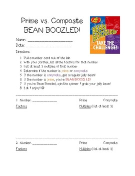 4th Grade Prime & Composite Bean Boozled Activity