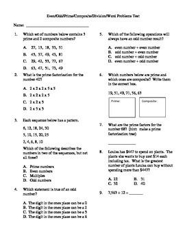 Prime, Composite, Even, Odd, Practical Problems Unit Test