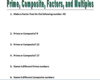Prime, Composite, Factors, and Multiples