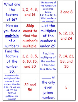 Factors and Multiples Matching Game