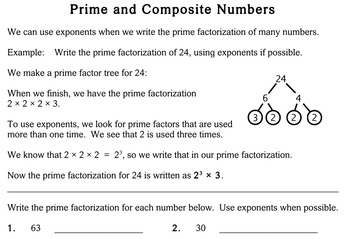 Prime & Composite Numbers, 5th grade - worksheets - Individualized Math