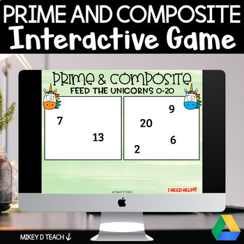 Prime and Composite Numbers Digital Game for Google Slides
