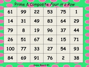 Prime & Composite Numbers:  Four in a Row Game