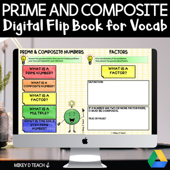 Prime and Composite Numbers Interactive Flip Book for Google Slides