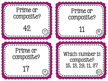 Prime Composite Numbers Scoot Game Task Cards
