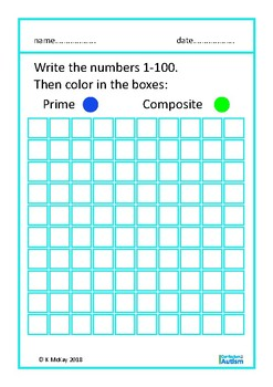 Prime Composite Numbers Sort Autism Special Education