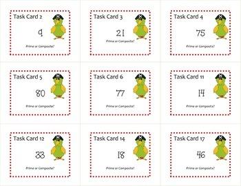 Prime & Composite Numbers Task Cards