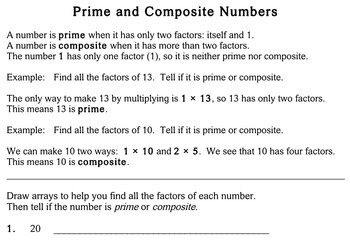 Prime & Composite Numbers, 4th grade - worksheets - Individualized ...
