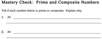Prime & Composite Numbers, 4th grade - worksheets - Individualized Math -