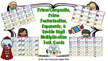 Prime/Composite, Prime Factorization, Exponents, & Multiplication Task Cards
