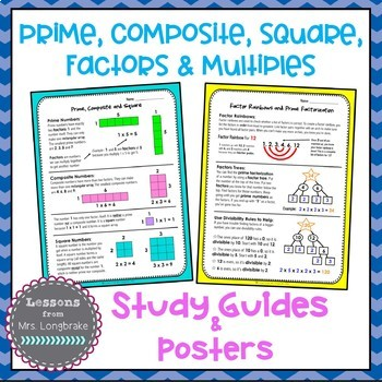 Prime, Composite, Square, Factors and Multiples Posters and Study Guides