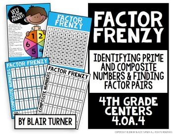 Prime, Composite, and Factor Pairs Game: 4th Grade Math Centers 4.OA.4