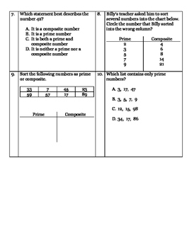 Prime/Composite and Odd/Even Mastery Assessment
