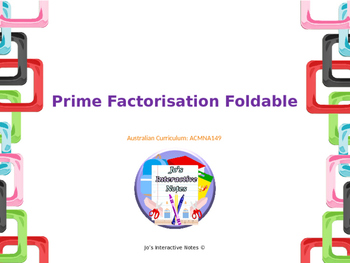 Prime Factorisation Foldable - Editable