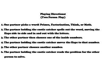 Prime Factorization Practice/ Prime Factorization Game 4th 5th 6th Grade