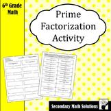 Prime Factorization Activity (Cut & Paste)  (6.7A)