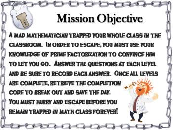 Prime Factorization Activity: Escape Room Math Game