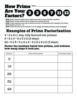 Prime Factorization Activity and Riddles: How Prime Are Your Factors?