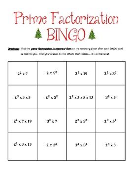 Prime Factorization BINGO Holiday Edition