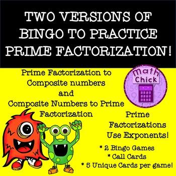 Prime Factorization Bingo TWO GAMES! TEKS 6.7A