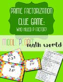 Prime Factorization Clue Game