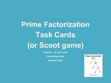 Prime Factorization & Exponent Task Cards or Scoot Game