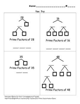 Prime Factorization - Extension Activity Unit 1 4th Grade Investigations