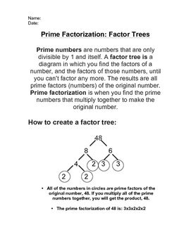 Prime Factorization, Factor Trees! Grades 4-6