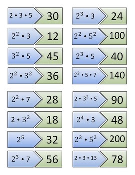 Prime Factorization File Folder Game (color or black and white included)
