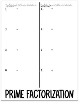 Prime Factorization (Foldable)