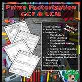 Prime Factorization GCF LCM Review Printable Worksheet Int