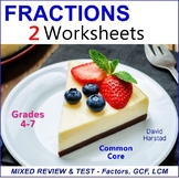 Prime Factorization, GCF, and LCM - Mixed Review and Test
