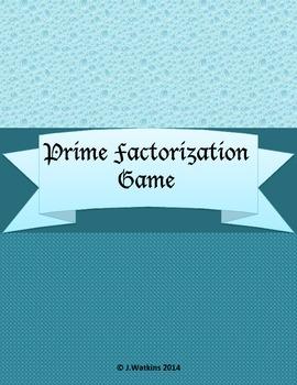 Prime Factorization Game - Extension Activity Unit 1 4th Grade Investigations