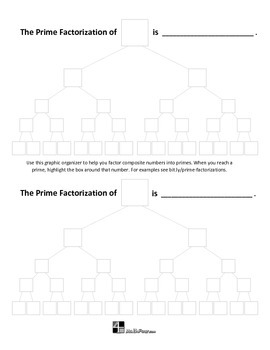 Prime Factorization Graphic Organizer