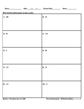 Prime Factorization (HI Practice Sheets)