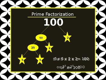 Prime Factorization- Least Common Multiple- Greatest Common Factor Power Point