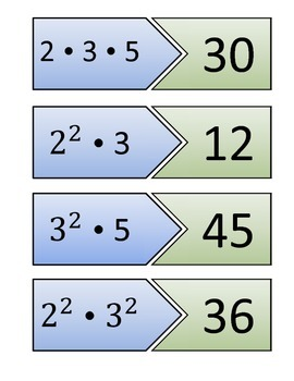 Prime Factorization Matching Blue and Green Cards (16 Problems)