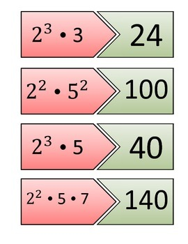 Prime Factorization Matching Red and Green (16 problems)