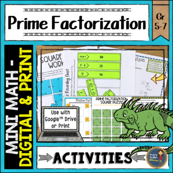 Prime Factorization Math Activities Google Slides and Printable