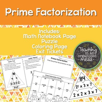 Prime Factorization Notebook Page, Station, Practice Page, Exit Tickets