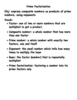 Prime Factorization - Notes for Students