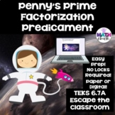Prime Factorization Predicament Classroom Escape Room Challenge TEKS 6.7A