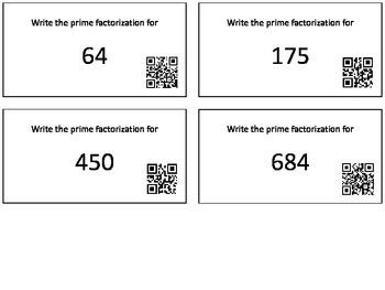 Prime Factorization QR Task Cards
