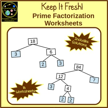 Prime Factorization Exercises Using Guided Factor Trees
