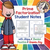 Prime Factorization Student Notes with Steps Factor Trees & KEY & Smartboard