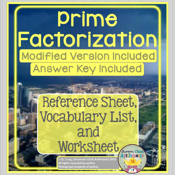 Prime Factorization - Student Reference Sheet and Quiz