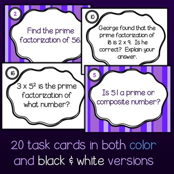 Prime Factorization Task Cards, Study Guide, and Worksheet Set