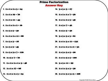 Prime Factorization Task Cards 4 to 6th Grade