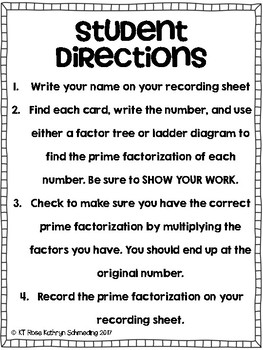 Prime Factorization Task Cards- CCSS 6.EE.1