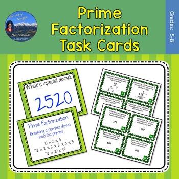 Prime Factorization Task Cards & Mini Lesson
